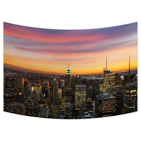 YKCG New York Skyline City Landmark Wall Hanging Tapestry Wall Art 90x60 inches