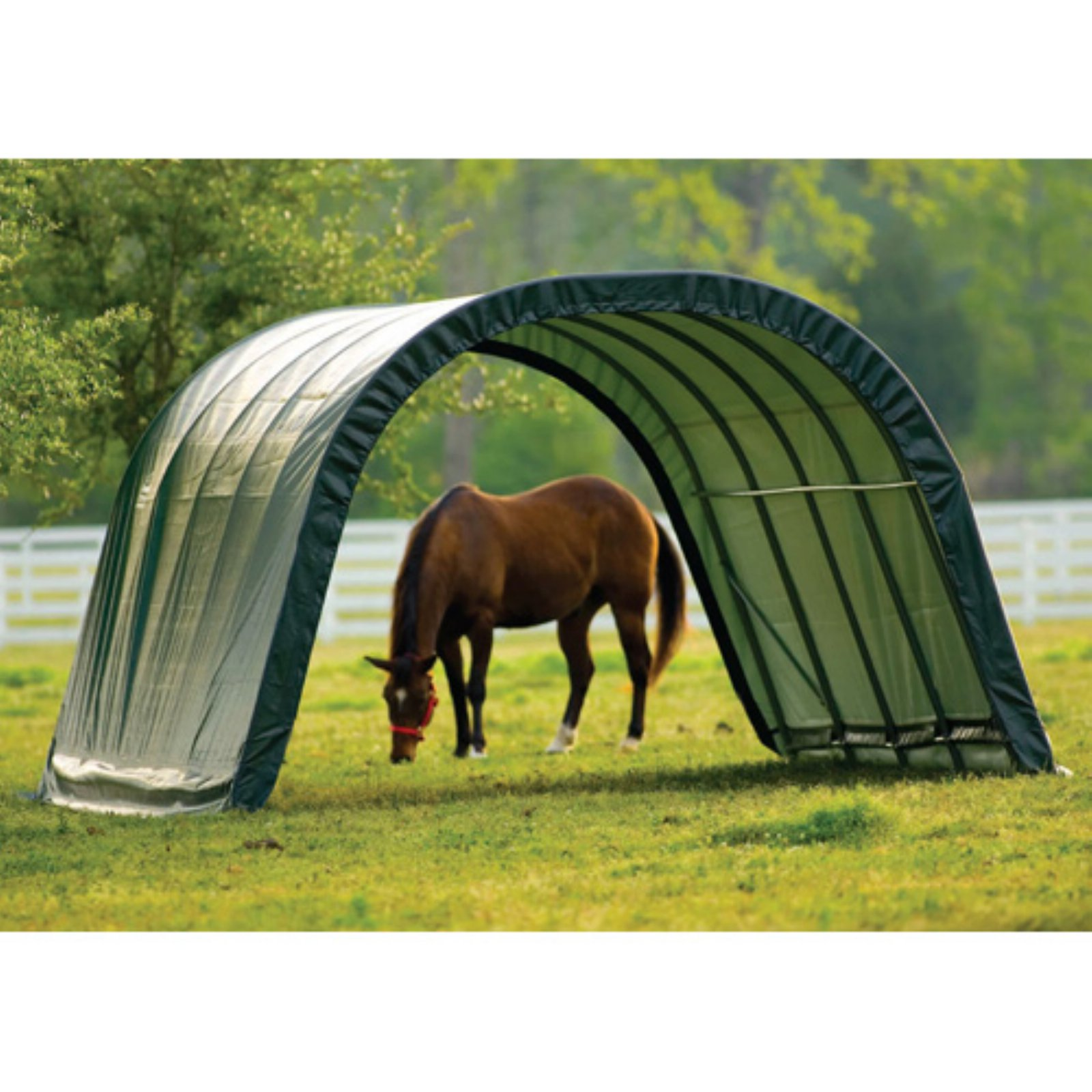 Equine Run-In Shed Round-Style, 12' x 20' x 8'