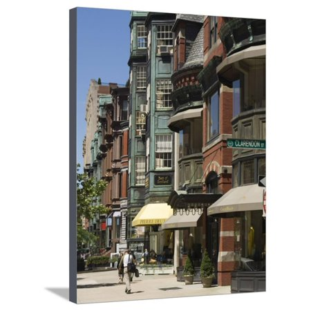 Newbury Street, Boston, Massachusetts, New England, USA Stretched Canvas Print Wall Art By Amanda (Newbury Boston Stores)