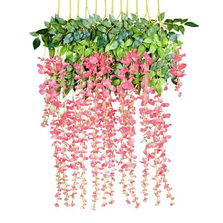 12 Pack 1 Piece 3.6 Feet Artificial Fake Wisteria Vine Ratta Hanging Garland Silk Flowers String Home Party Wedding Decor (Pink)