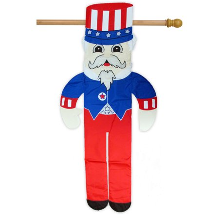 """Uncle Sam Patriotic 3D Applique House Flag Embroidered Stars USA  24"""" x 52"""""""