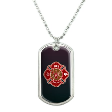 Firefighter Fire Rescue Maltese Cross Military Dog Tag Pendant Necklace with