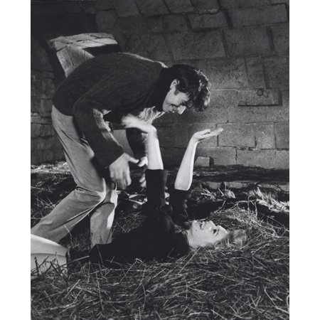Film still featuring Brigitte Bardot with a man in a barn Photo Print](Halloween Film Barn)