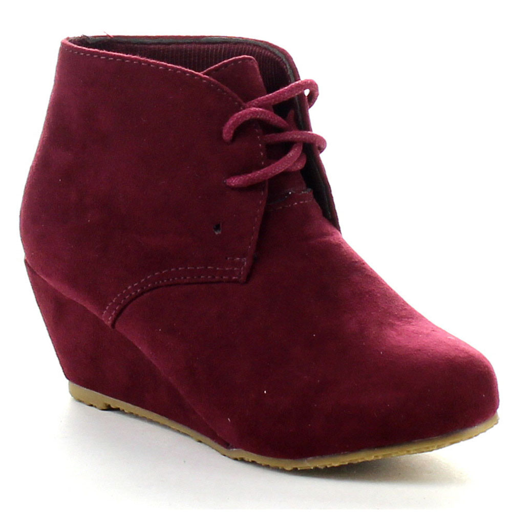 Belle Marie Sally 5K Little Girls Lace Up Wedge Dress Booties