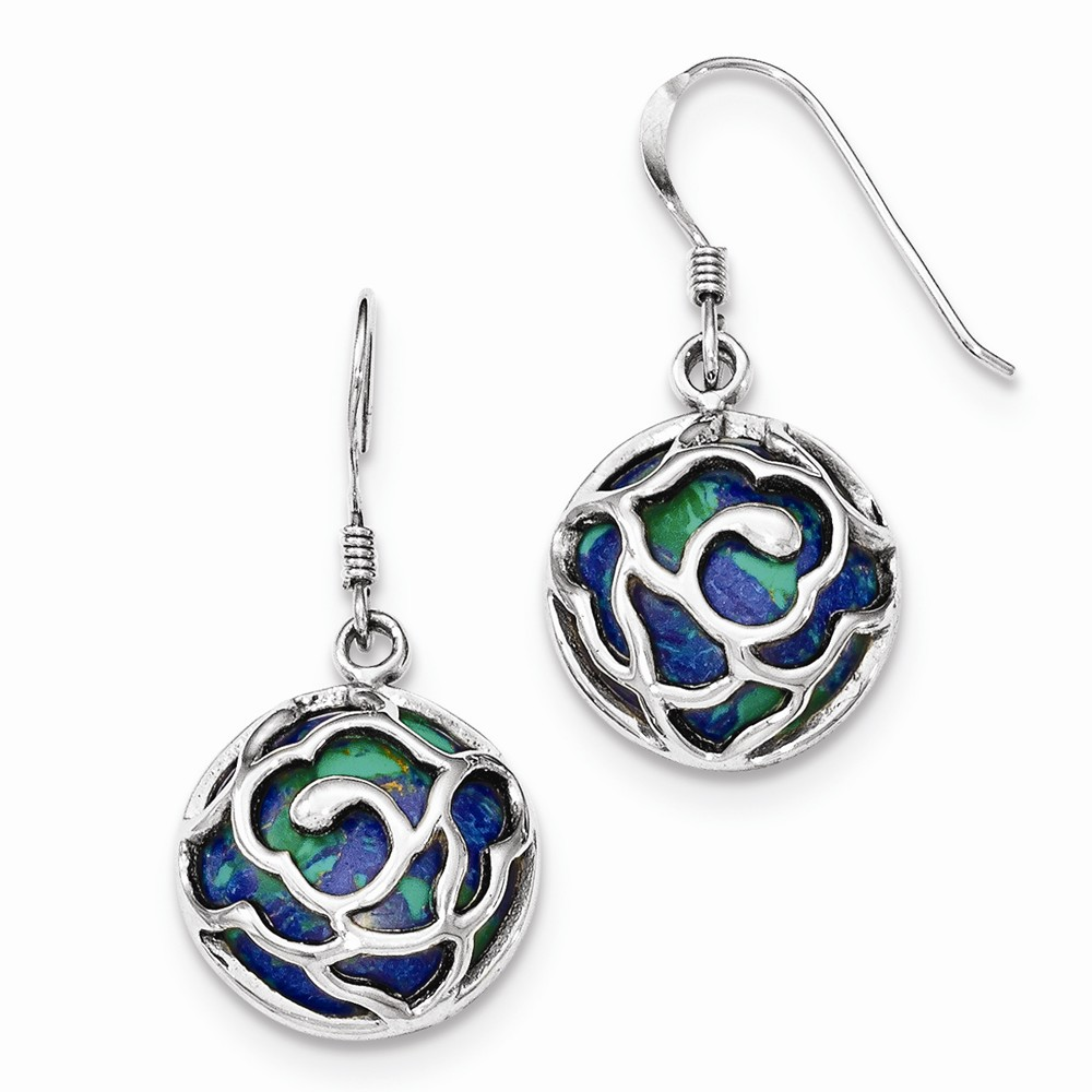 925 Sterling Silver Polished Round Azurite Chrysocolla Earrings (33mm x 16mm)