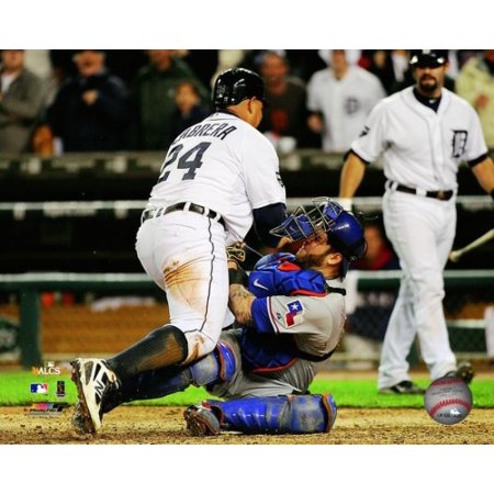Mike Napoli Tags Out Miguel Cabrera Game 4 Of The 2011 Alcs Action Photo Print