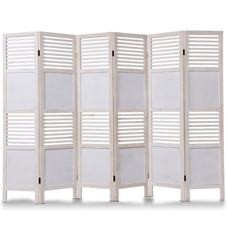 Costway 6 Panel White Room Divider Wood Folding Freestanding Partition Privacy (Oriental Wood Screen)