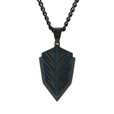 Believe by Brilliance Men's Stainless Steel Grooved Two-Tone Shield Pendant Necklace Chain