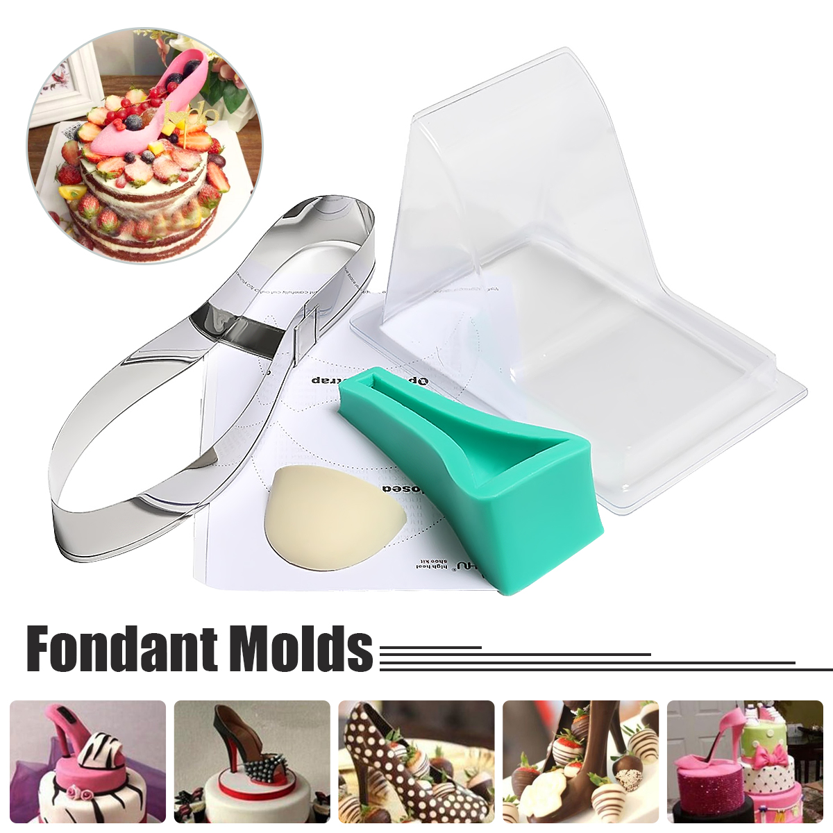 High Heel Shoe Silicone Fondant Mould Kit Wedding Cake Decorating Template Mold