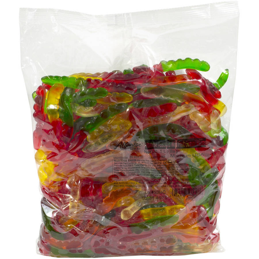 Large Assorted Fruit Gummi Worms Bulk Candy, 5 Lb