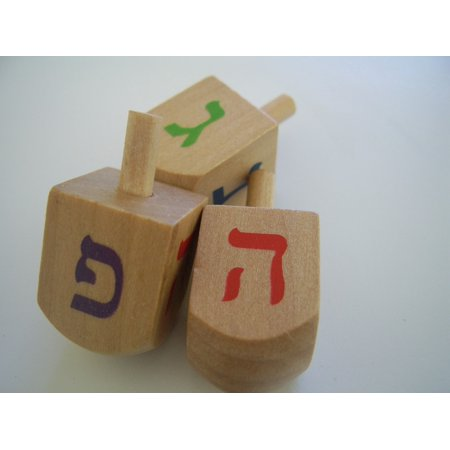 Canvas Print Hanukkah Spinning Tops Holiday Dreidels Jewish Stretched Canvas 10 x 14
