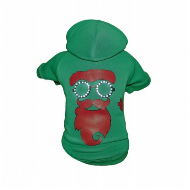 Pet Life FBP9GNLG LED Lighting Cool Santa Shades Hooded Sweater Pet Costume, Large - Green - image 1 de 1