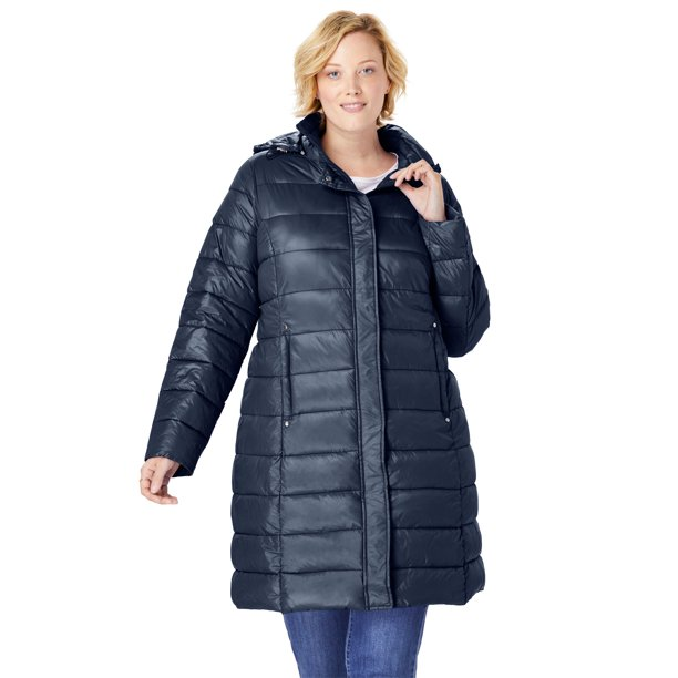 buy coats online : Woman Within Women's Plus Size Long Packable Puffer Jacket Coat