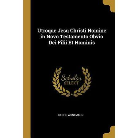 Utroque Jesu Christi Nomine in Novo Testamento Obvio Dei Filii Et Hominis (In Nomine Patris Et Filii Et Spiritus Sancti)