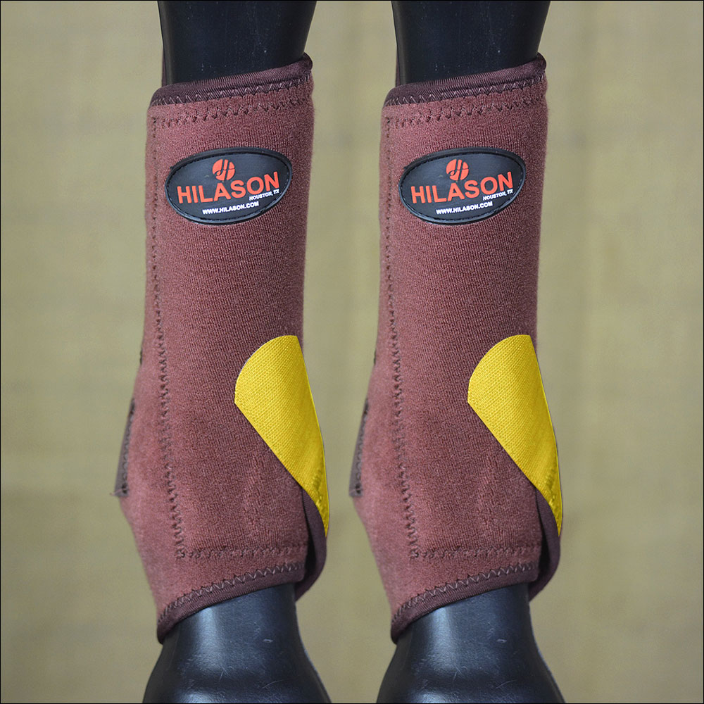 LARGE HILASON HORSE FRONT LEG SPORT BOOT ULTIMATE PROTECTION BROWN YELLOW