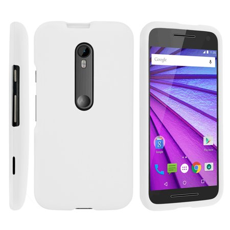 Motorola Moto G 3rd Gen, [SNAP SHELL][White] 2 Piece Snap On Rubberized Hard White Plastic Cell Phone Case with Exclusive Art -  White