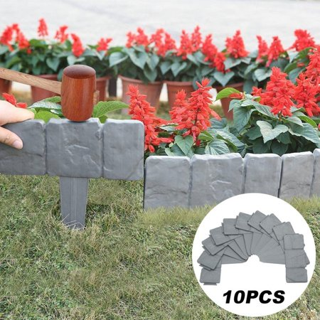 Garden Fence Grey Stone Effect Lawn Edging Plant Bordering Cobblestone Yard Border