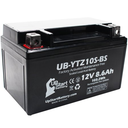 Replacement 2006 Yamaha YZF-R6 (excl. R6S) 600CC Factory Activated, Maintenance Free, Motorcycle Battery - 12V, 8.6Ah, UB-YTZ10S-BS - image 1 de 4