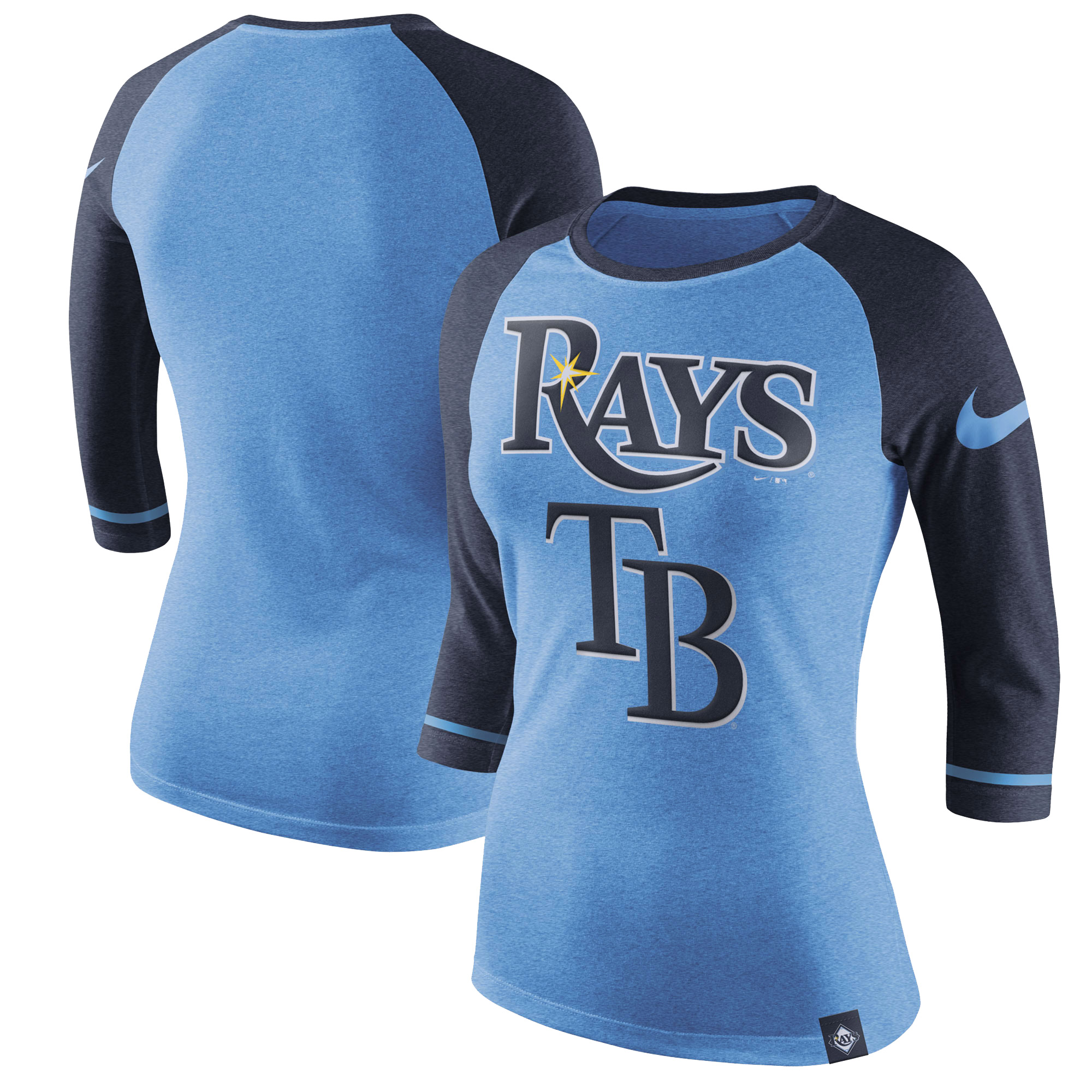 Women's Nike Light Blue Tampa Bay Rays Tri-Blend 3/4-Sleeve Raglan T-Shirt