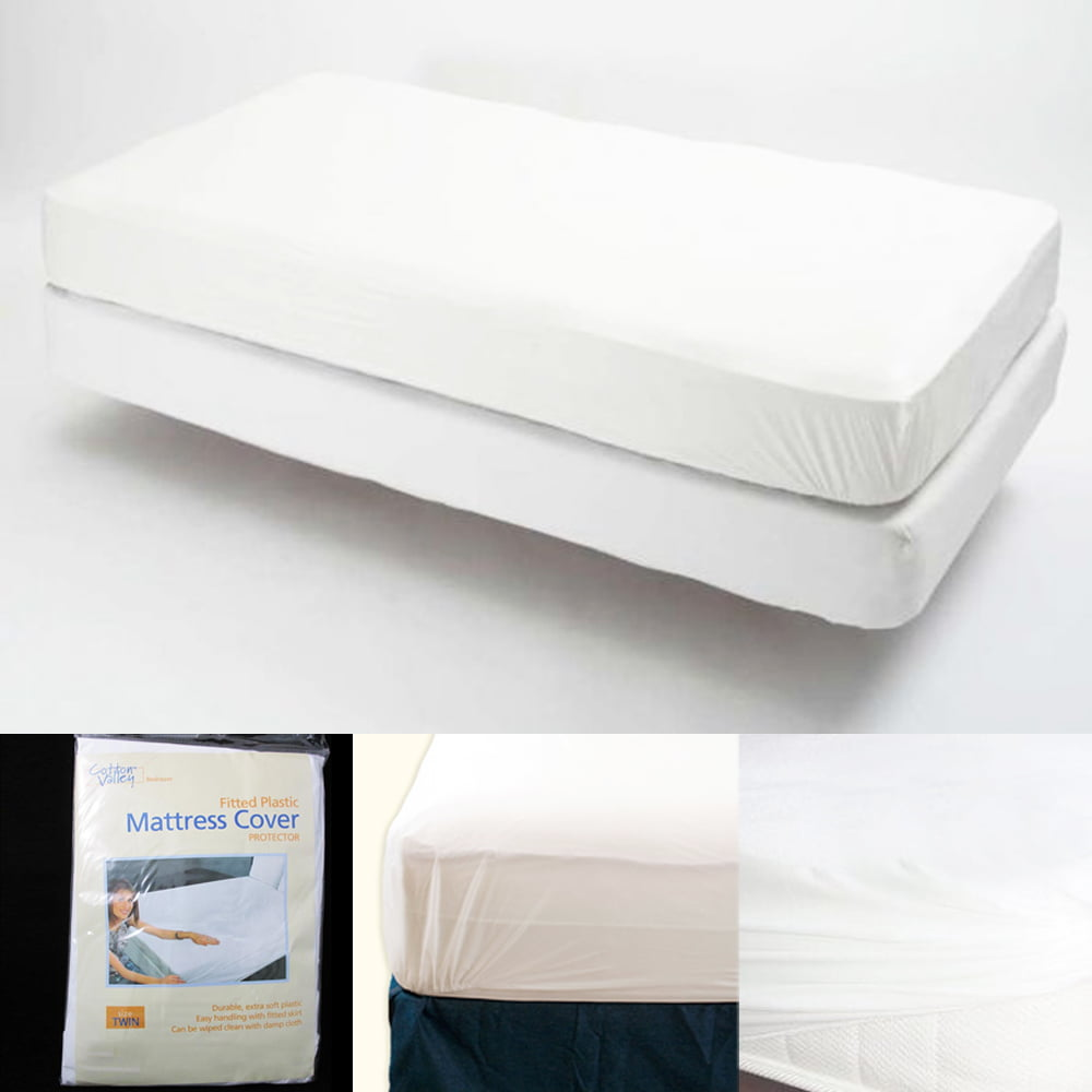 Twin Size Fitted Mattress Cover Vinyl Waterproof Allergy Dust Bug Protector New Walmart Com Walmart Com