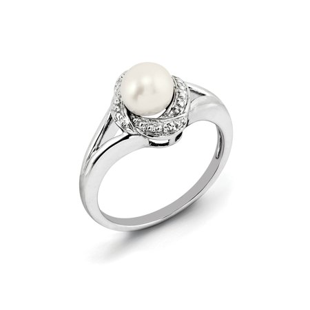 - 925 Sterling Silver Round Twist White Freshwater Cultured Pearl and Diamond Ring