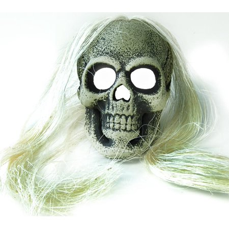 Led White Skull With Hair Scary Halloween Costume Mask Prop - Halloween Scary Skull