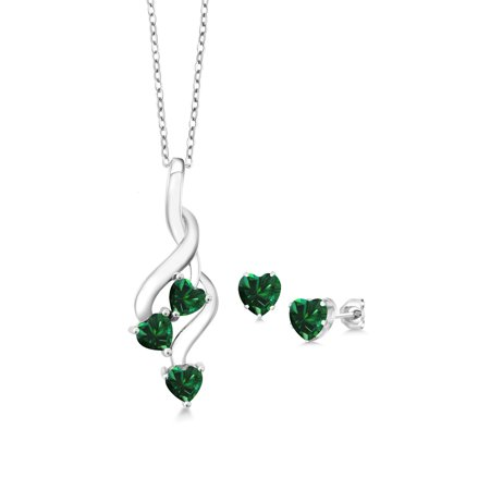2.60 Ct Green Simulated Emerald 925 Sterling Silver Pendant Earrings Set