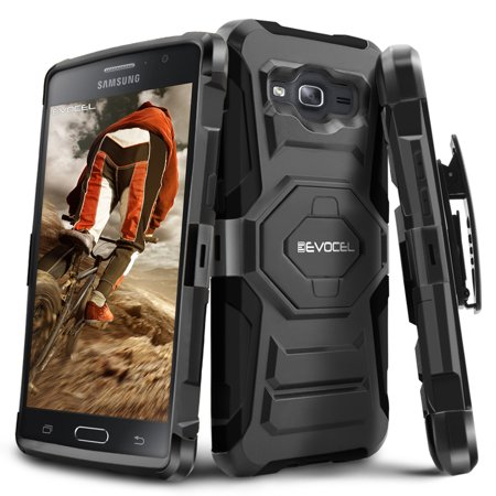 Evocel  Galaxy On5  New Generation  Rugged Holster Dual Layer Case  Kickstand  Belt Swivel Clip  For Galaxy On5  Black