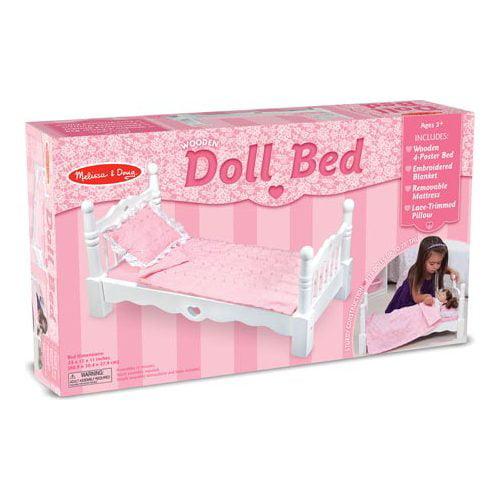 "Children's Melissa & Doug Wooden Doll Bed  24"" x 12"" x 11"""