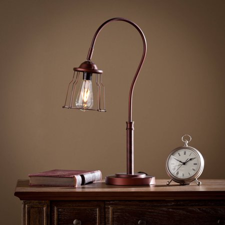 Southern Enterprises Elena Modern Edison Style Table Lamp, Bronze