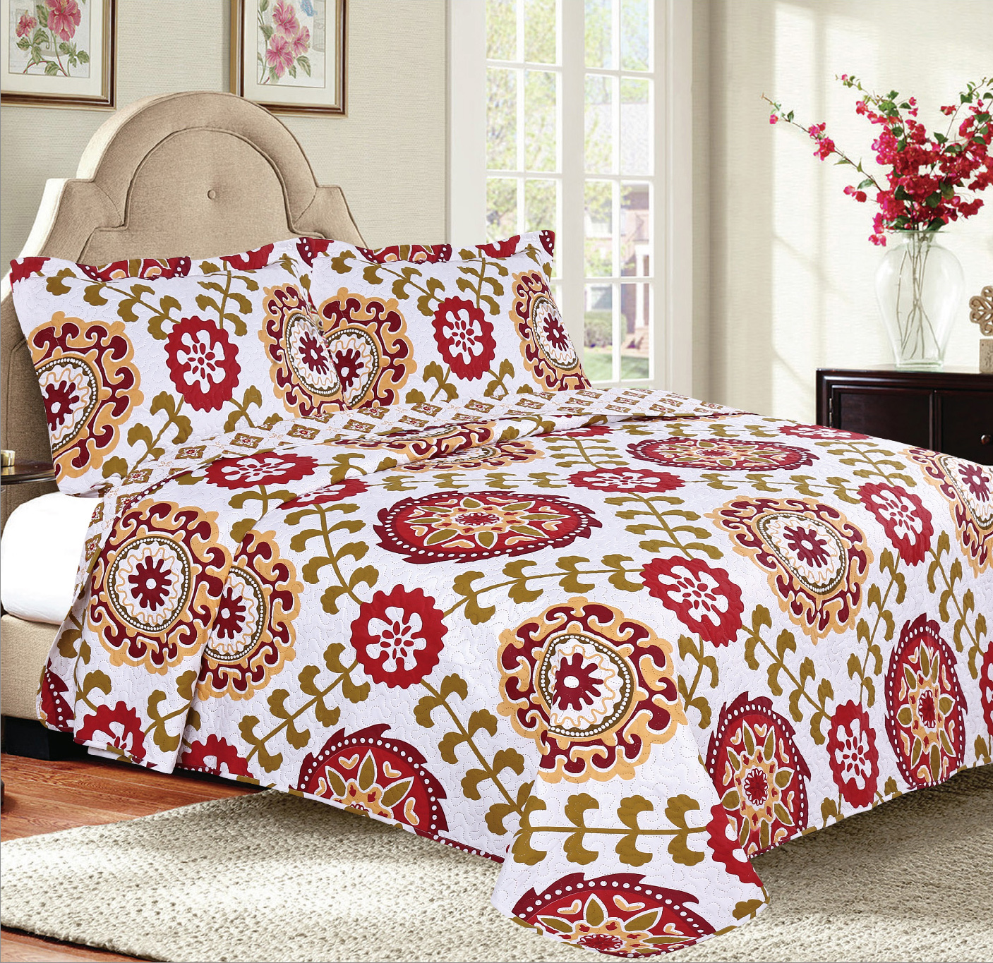 3-Piece Modern Bedspread Coverlet Quilt Set with Pillow Shams White Red by Woven Trends