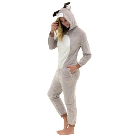Veil Entertainment Reindeer Moose Plush Onesie Pajama Women Costume, Brown White (Women Reindeer Costume)