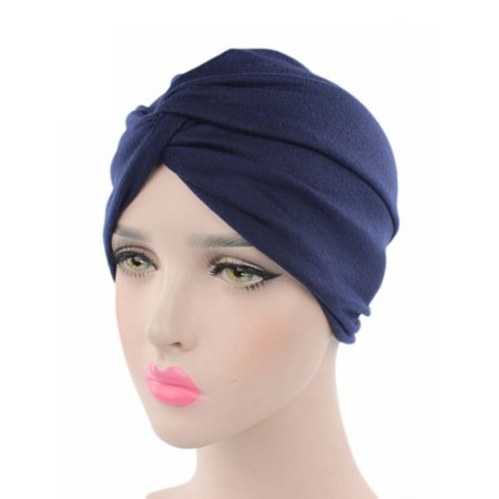 Stretchy Turban Cap Head Wrap Band Women's Hairband Sleep Hat Indian Scarf - Khaki Structured Flex Hat