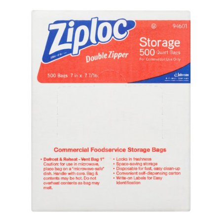 Ziploc Double Pinch   Seal Zipper Storage Bags  Quart  500 Ct
