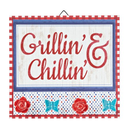 Pioneer Woman Grillin Sign W/Knobs 12""