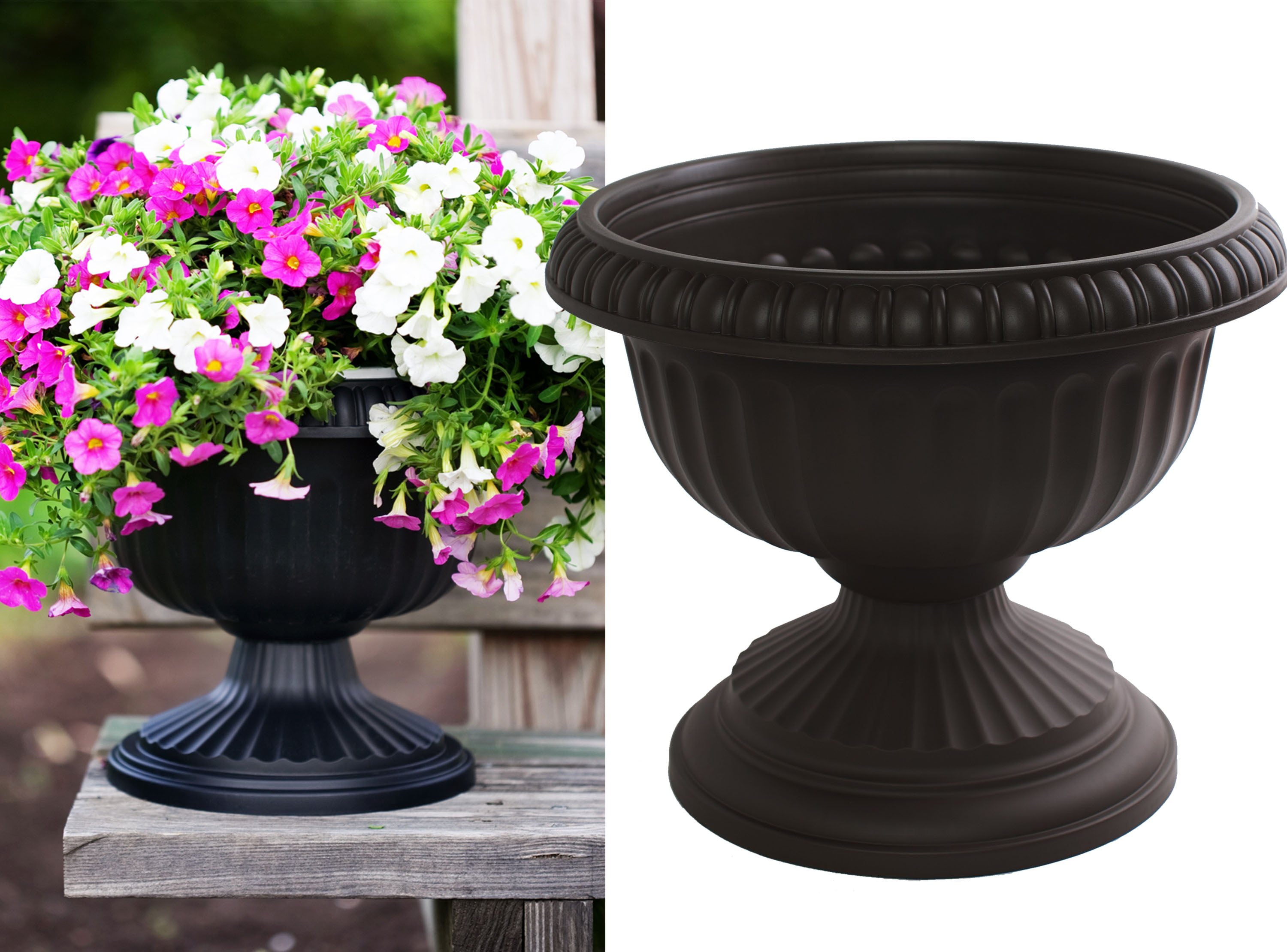"Bloem Grecian Urn Planter 12"" Black by Urns"