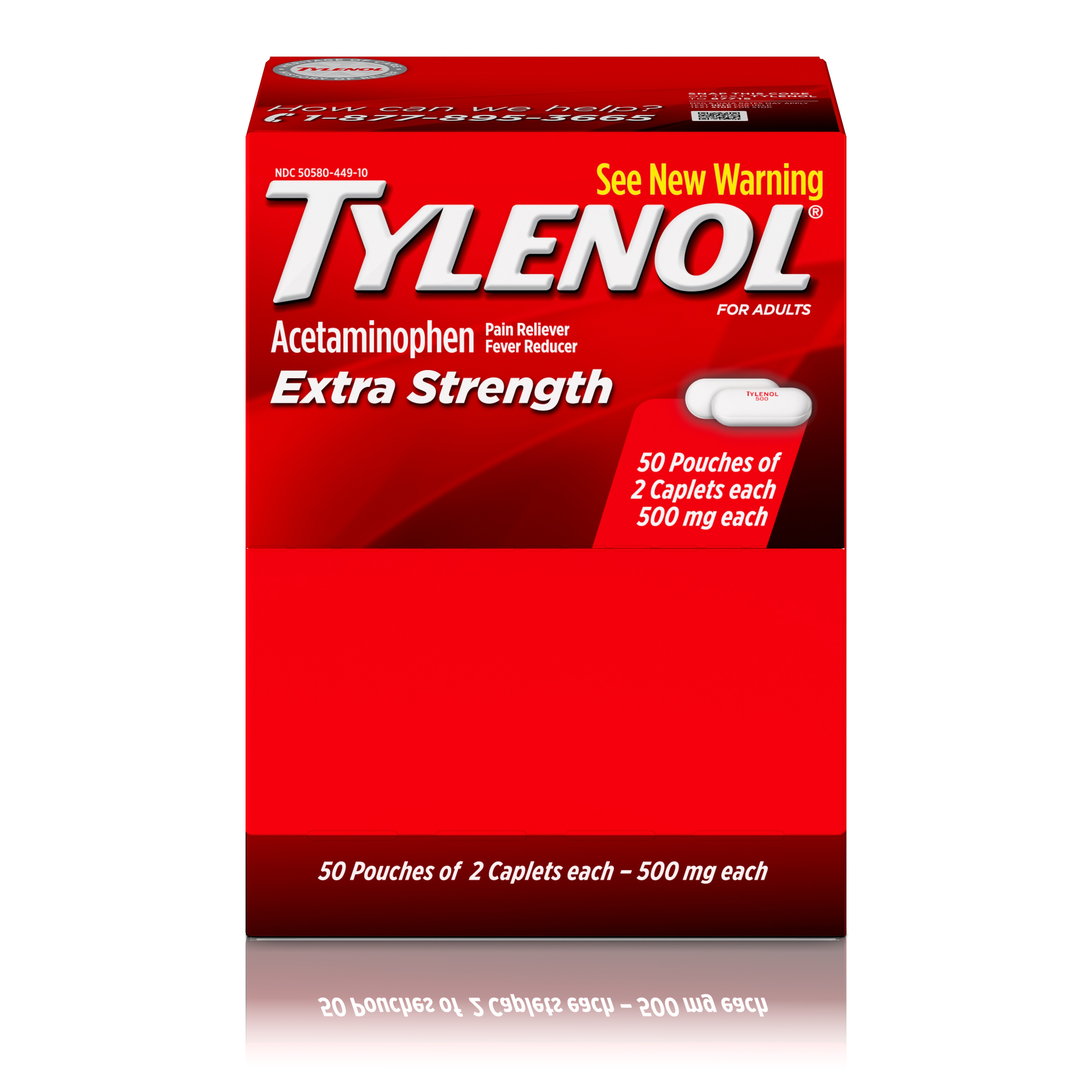 (2 Pack) TYLENOL® Extra Strength Caplets, Fever Reducer and Pain Reliever, 500 mg, 50 ct., Pack of 2