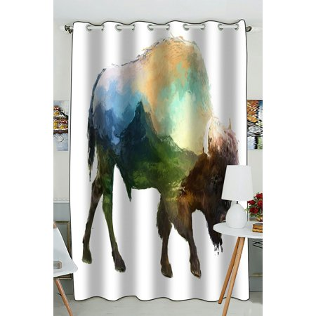 PHFZK Animal Art Window Curtain, The Bison Mountain Window Curtain Blackout Curtain For Bedroom living Room Kitchen Room 52x84 inches One Piece ()