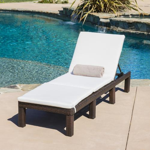 Christopher Knight Home Jamaica Outdoor Chaise Lounge with Cushion by by Overstock