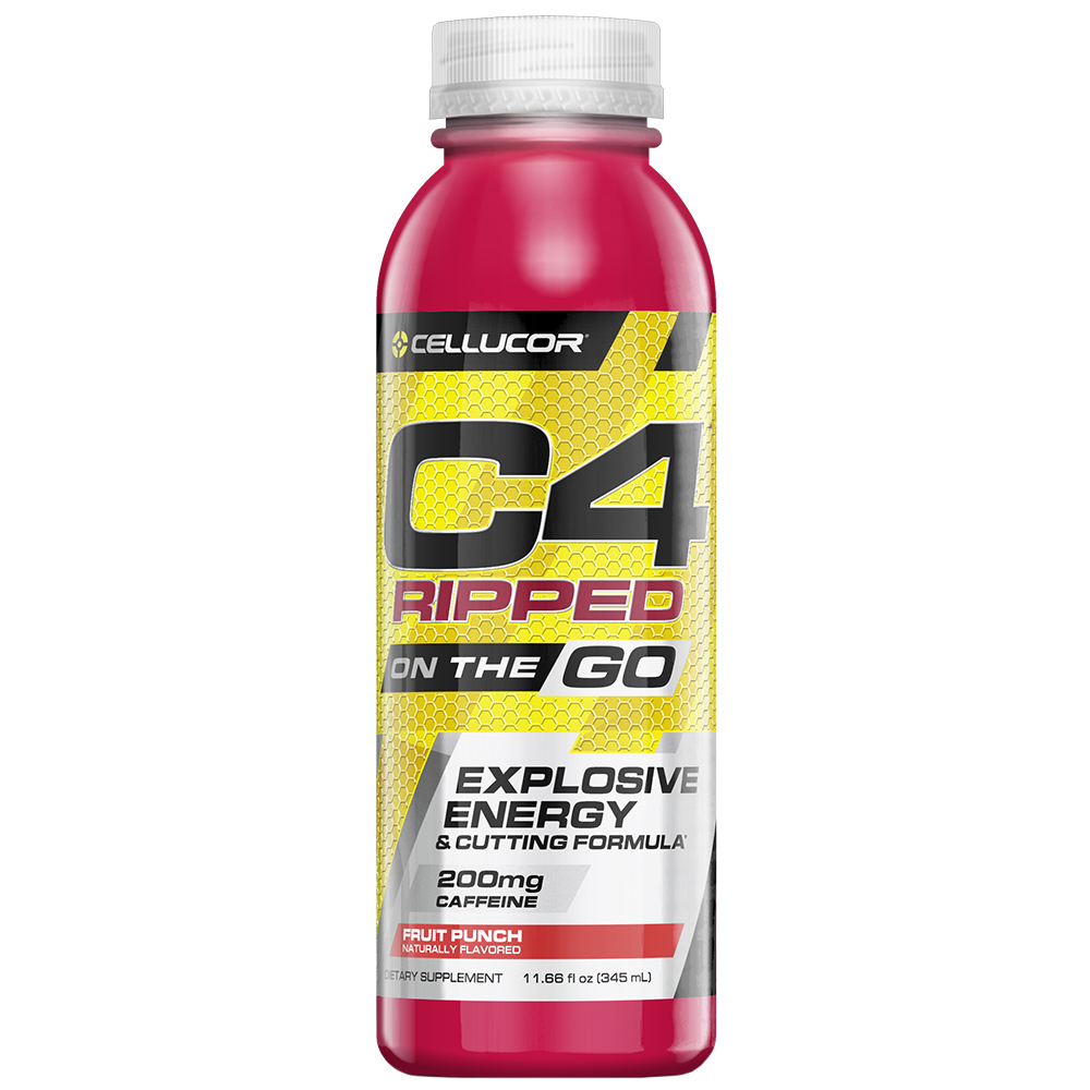 Cellucor C4 Ripped On The Go Pre Workout Energy Drink, Fruit Punch, 11.66 Fl Oz, 12 Ct