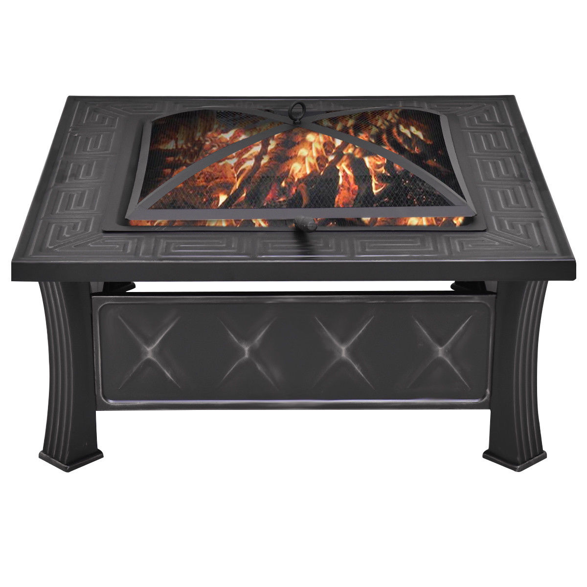 Costway 32'' Square Metal Firepit Patio Garden Stove Firepit Outdoor Brazier With Poker by Costway