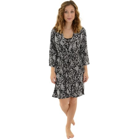 Womens Black White Chemise and Wrap Robe 2 Piece Sleepwear Set Paisley Print (Black Paisley Printed)