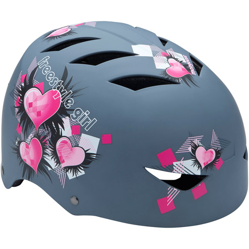 Mongoose Girls' FSG Hardshell Multi-Sport Youth Helmet, Pink Hearts