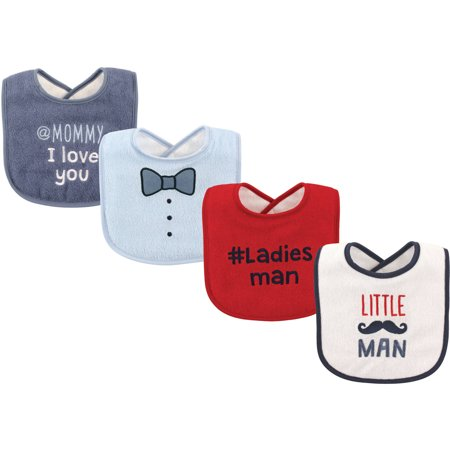 Luvable Friends Baby Boy and Girl Drooler Bib, 4-Pack - Little (Little Fan Snap Baby Bib)
