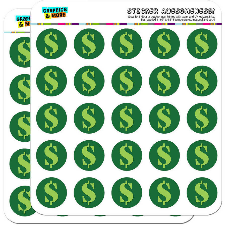"Dollar Sign Money 50 1"" Planner Calendar Scrapbooking Crafting Stickers"