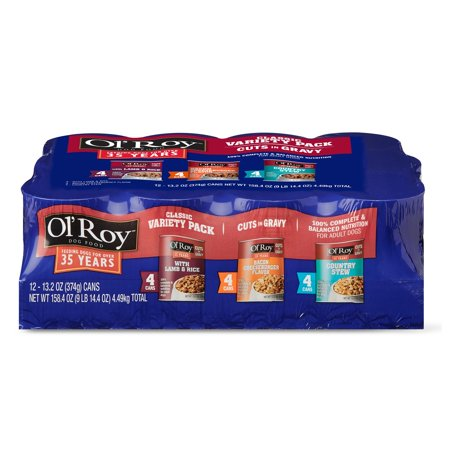 Ol' Roy Cuts in Gravy Wet Dog Food Variety Pack, Lamb & Rice, Bacon Cheeseburger and Country Stew, 13.2 oz, 12 (Best Gravy For Lamb)