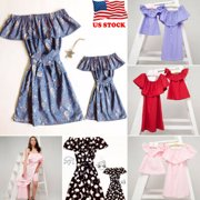 USA Mother and Daughter Casual Off Shoulder Midi Dress Mommy&Me Matching Outfits