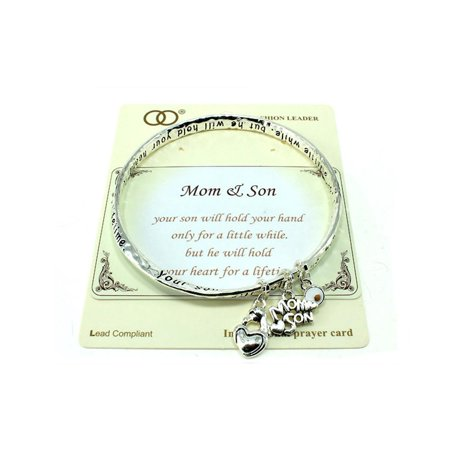 Beautiful Mom & Son Inspirational Silver Tone Bangle Bracelet](Mom Bangle Bracelet)