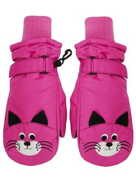 SimpliKids Children's Winter 3M Thinsulate Waterproof Ski Mitten Gloves,M,Hot Pink#15 Cat