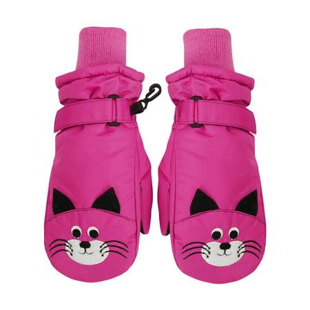 SimpliKids Children's Winter Fun Animal Character 3M Thinsulate Waterproof Ski Mitten Gloves,M,Hot Pink#15 -